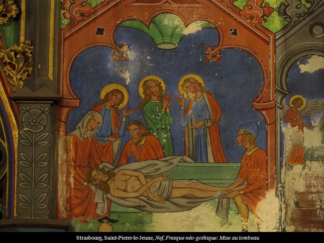 Strasbourg, Saint-Pierre-le-Jeune, Nef, Fresque néo-gothique: Mise au tombeau