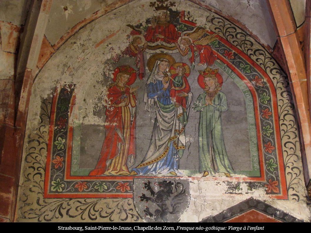 Strasbourg, Saint-Pierre-le-Jeune, Chapelle des Zorn, Fresque néo-gothique: Vierge à l enfant