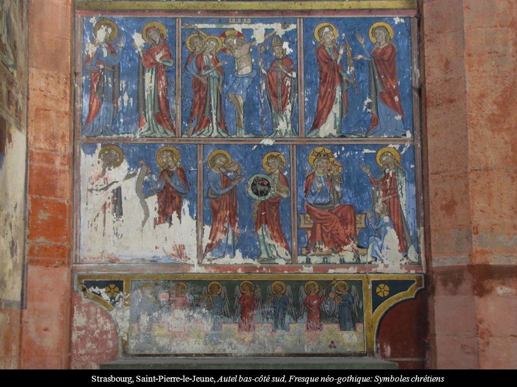 Strasbourg, Saint-Pierre-le-Jeune, Autel bas-côté sud, Fresque néo-gothique: Symboles chrétiens