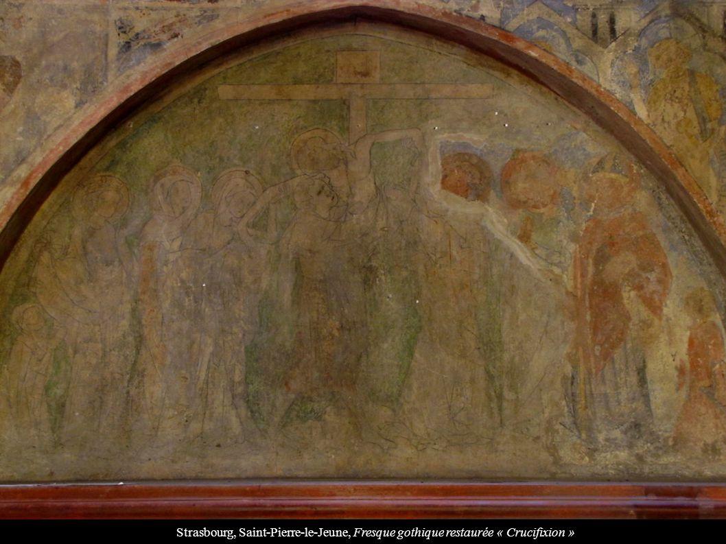 Strasbourg, Saint-Pierre-le-Jeune, Fresque gothique restaurée « Crucifixion »