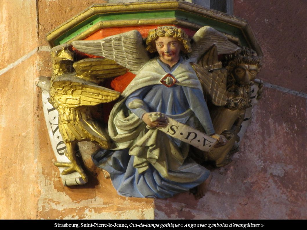 Strasbourg, Saint-Pierre-le-Jeune, Cul-de-lampe gothique « Ange avec symboles d évangélistes »