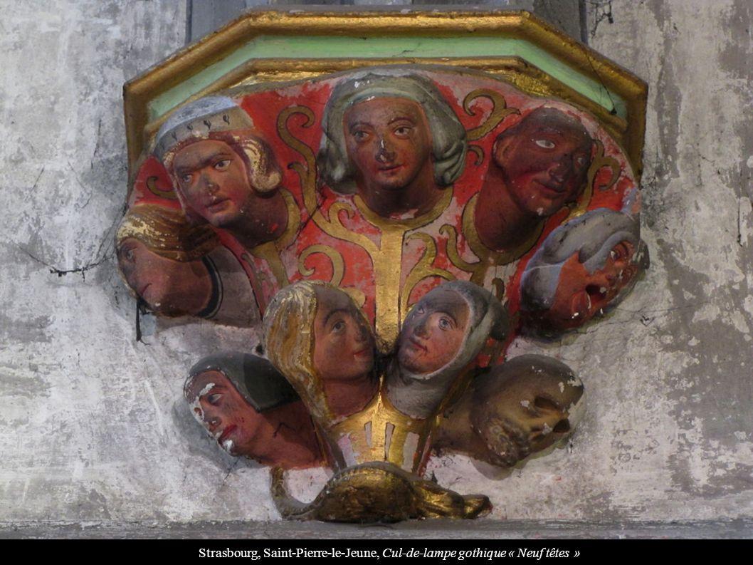 Strasbourg, Saint-Pierre-le-Jeune, Cul-de-lampe gothique « Neuf têtes »