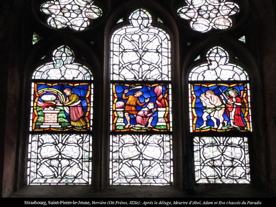 Strasbourg, Saint-Pierre-le-Jeune, Verrière (Ott Frères, XIXe): Après le déluge, Meurtre d Abel, Adam et Eve chassés du Paradis