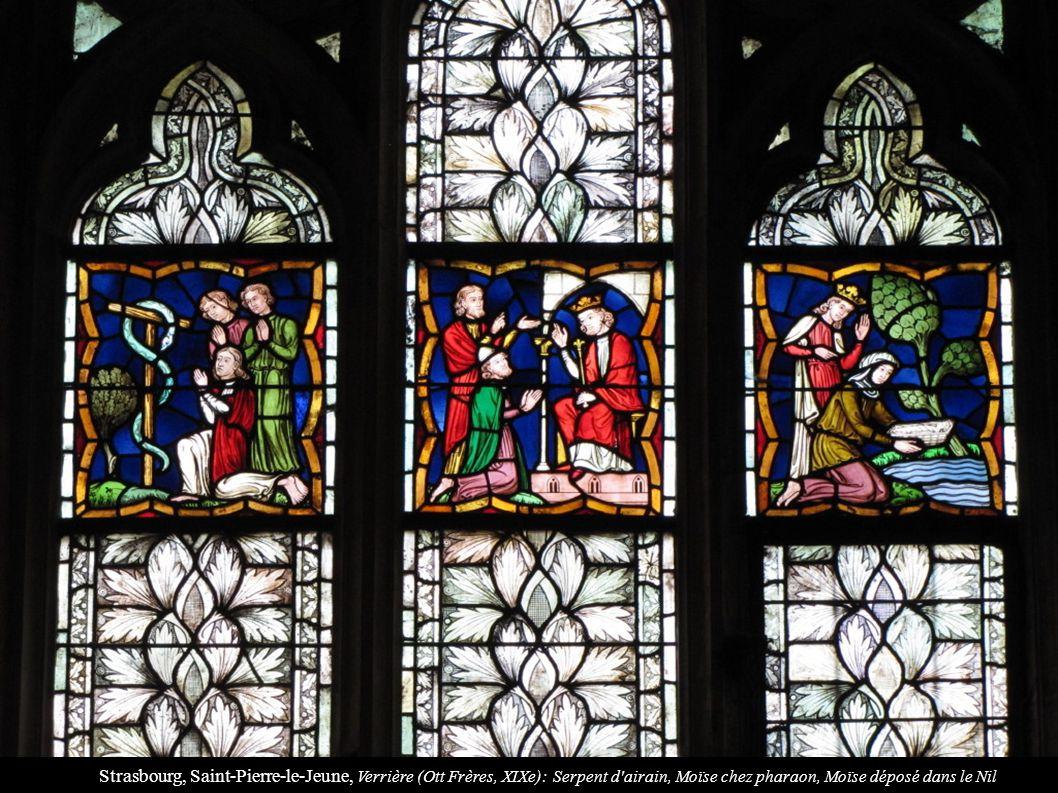 Strasbourg, Saint-Pierre-le-Jeune, Verrière (Ott Frères, XIXe): Serpent d airain, Moïse chez pharaon, Moïse déposé dans le Nil