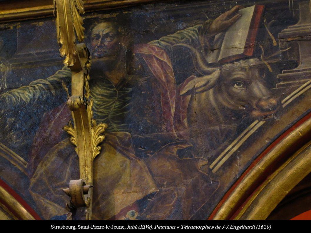 Strasbourg, Saint-Pierre-le-Jeune, Jubé (XIVe), Peintures « Tétramorphe » de J-J.Engelhardt (1620)