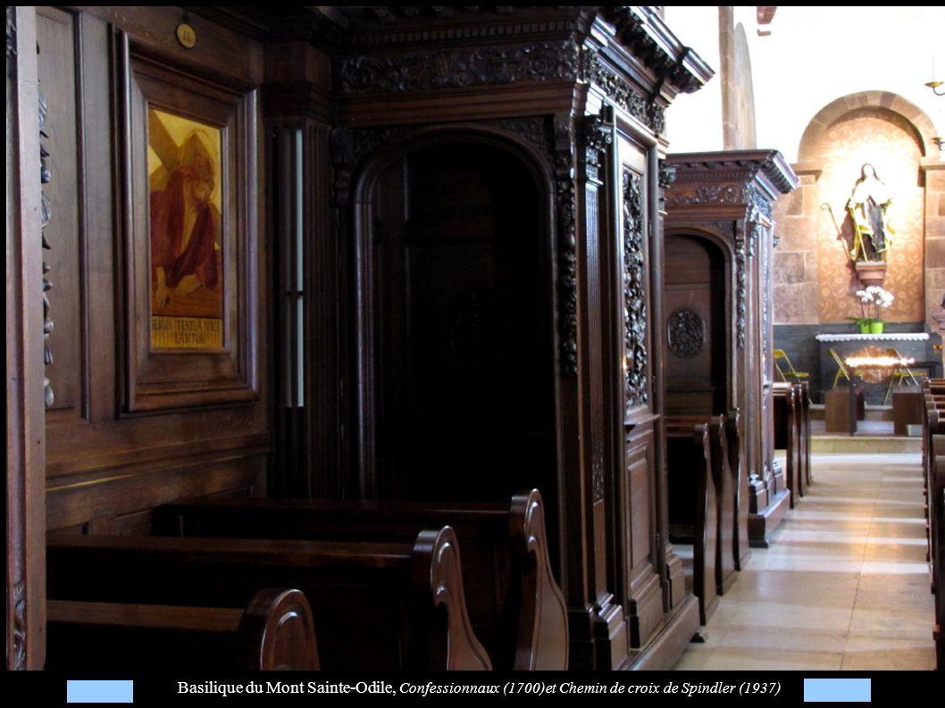 Basilique du Mont Sainte-Odile, Confessionnaux (1700)et Chemin de croix de Spindler (1937)
