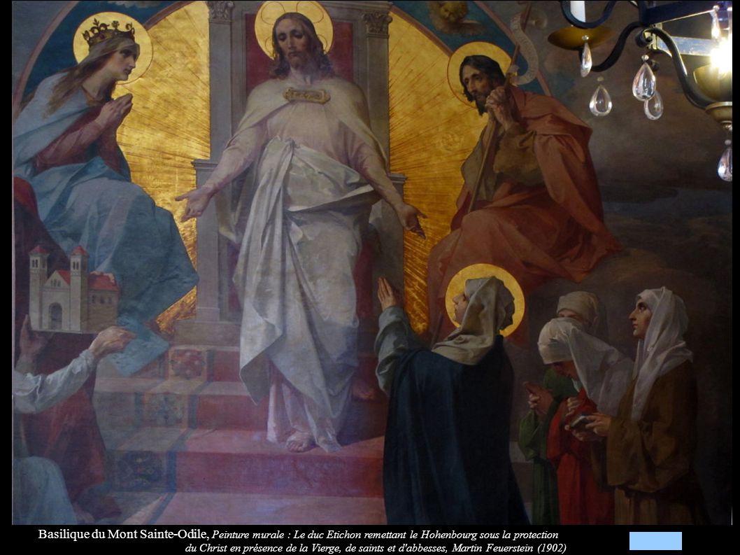 Basilique du Mont Sainte-Odile, Peinture murale : Le duc Etichon remettant le Hohenbourg sous la protection