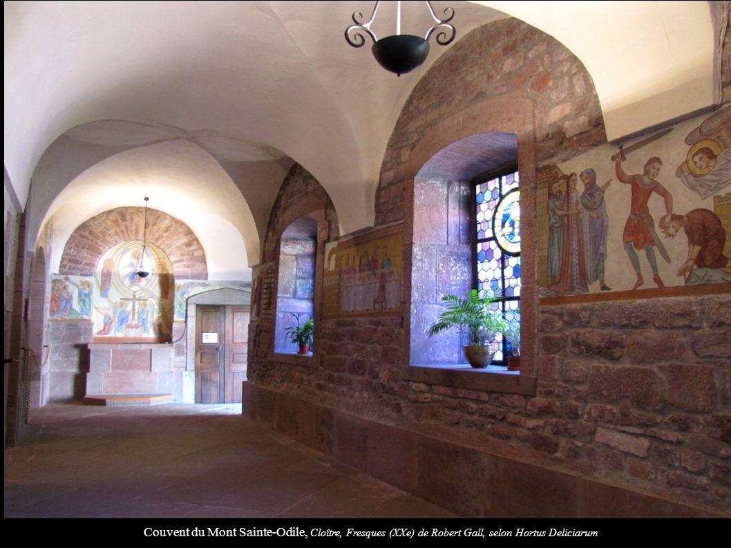 Couvent du Mont Sainte-Odile, Cloître, Fresques (XXe) de Robert Gall, selon Hortus Deliciarum