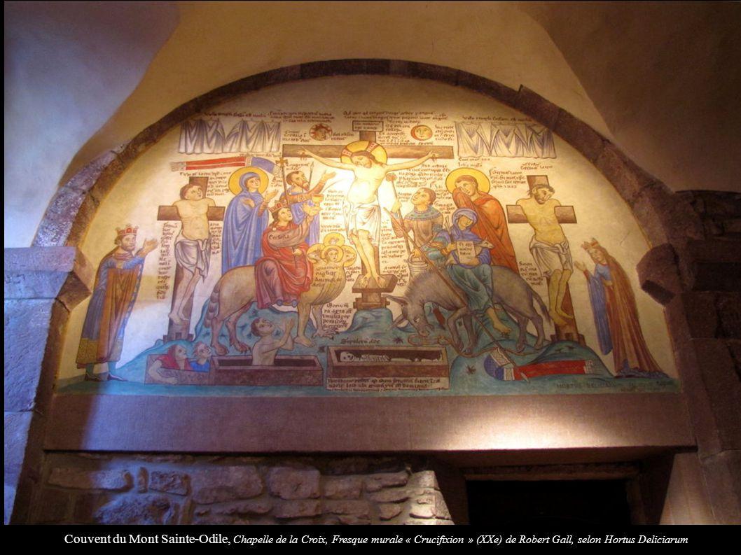 Couvent du Mont Sainte-Odile, Chapelle de la Croix, Fresque murale « Crucifixion » (XXe) de Robert Gall, selon Hortus Deliciarum