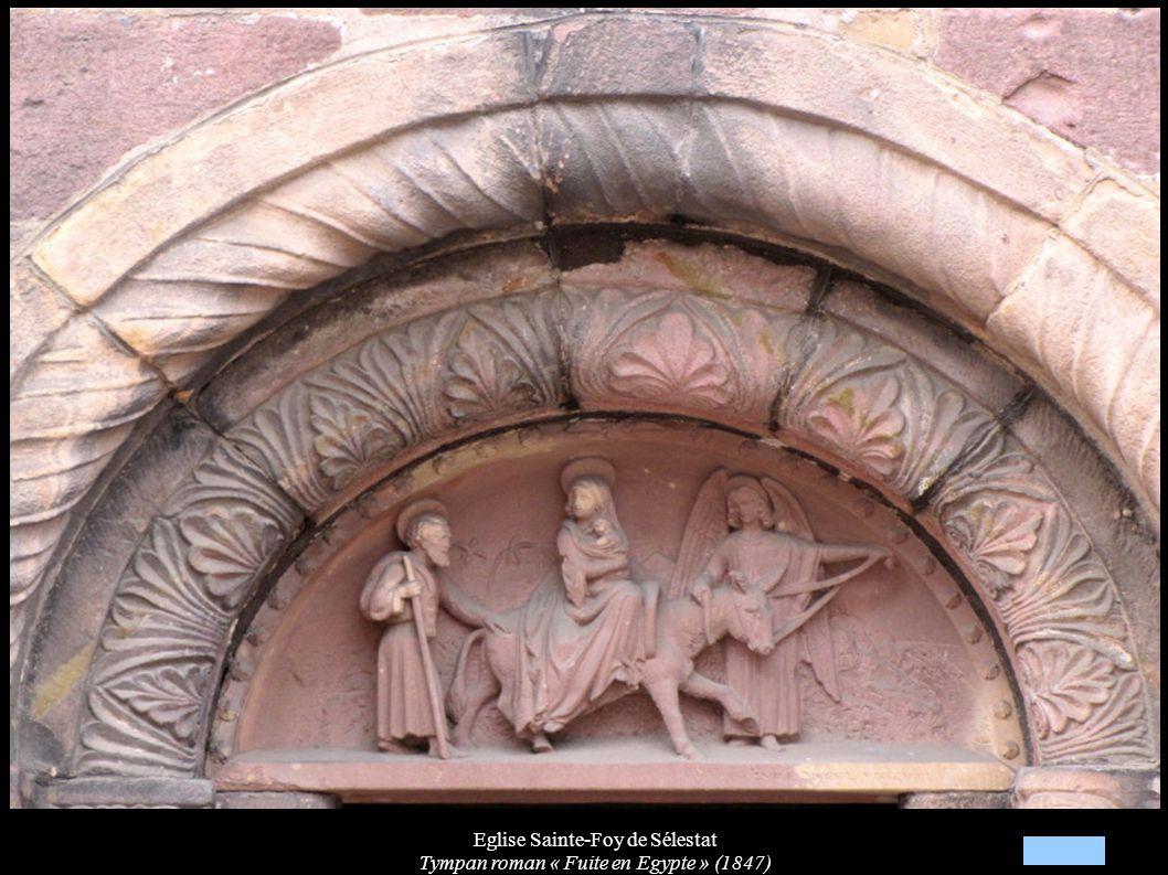 Eglise Sainte-Foy de Sélestat Tympan roman « Fuite en Egypte » (1847)