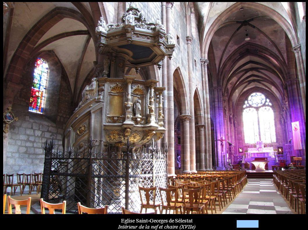 Eglise Saint-Georges de Sélestat Intérieur de la nef et chaire (XVIIe)