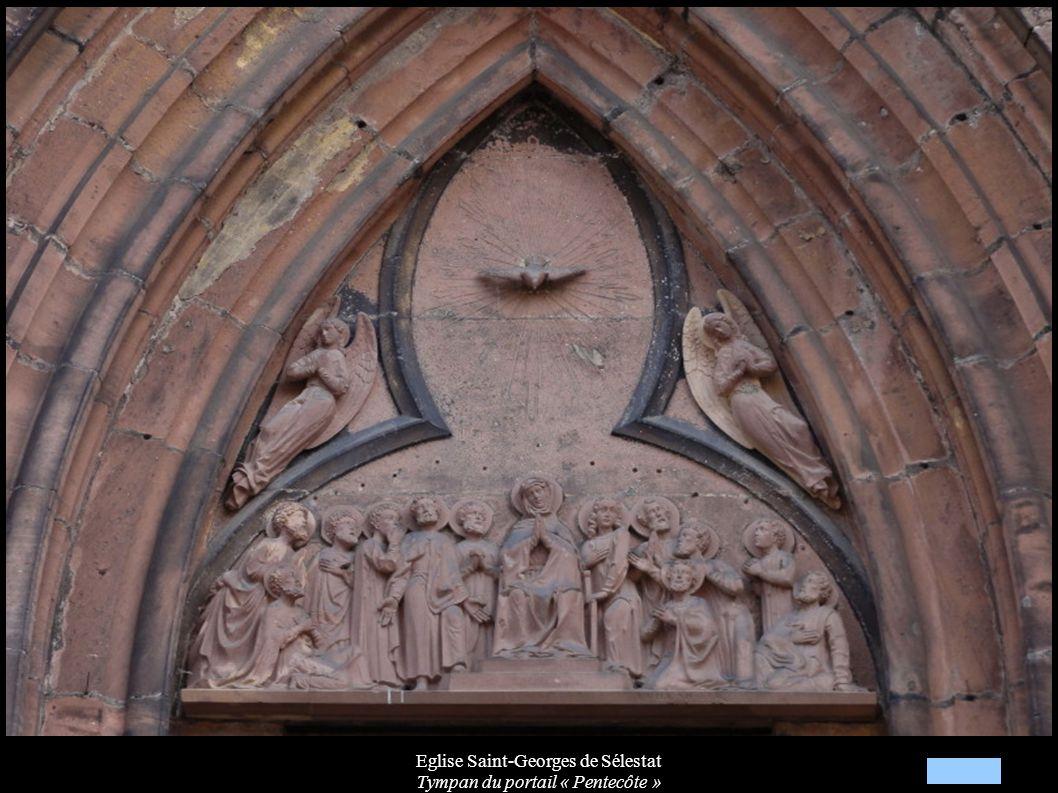 Eglise Saint-Georges de Sélestat Tympan du portail « Pentecôte »