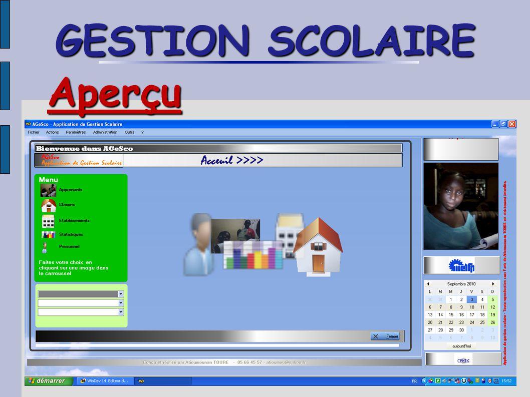 GESTION SCOLAIRE Aperçu