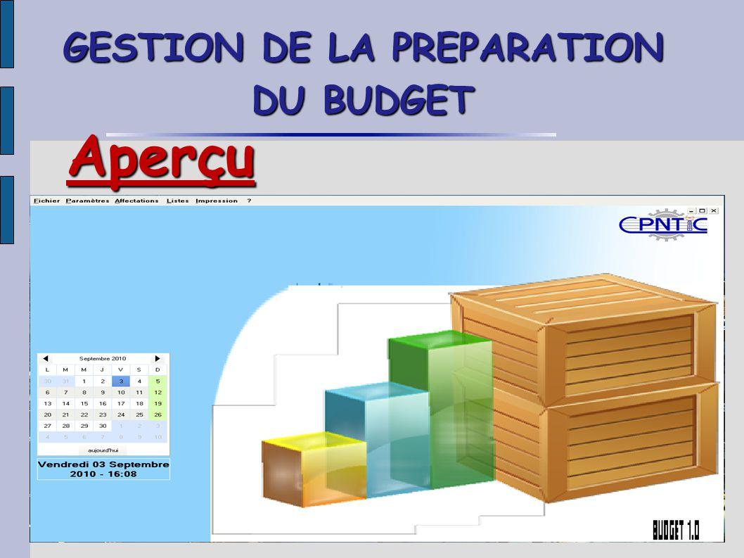 GESTION DE LA PREPARATION DU BUDGET