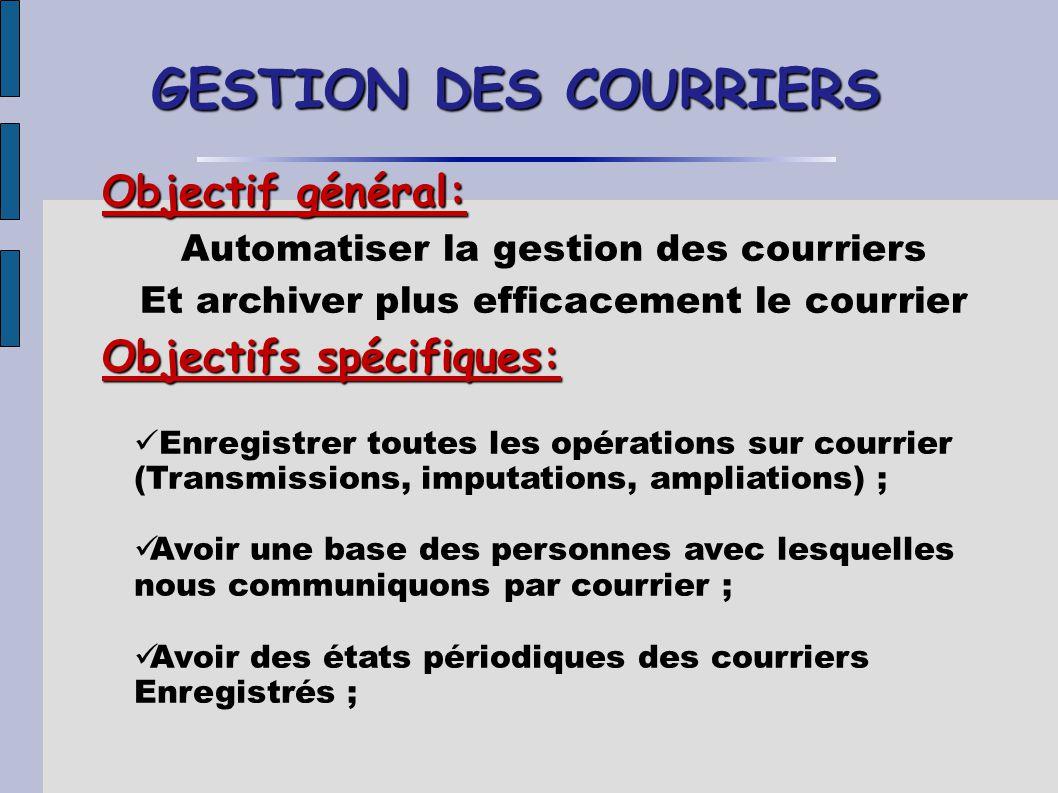 GESTION DES COURRIERS Objectif général: Objectifs spécifiques: