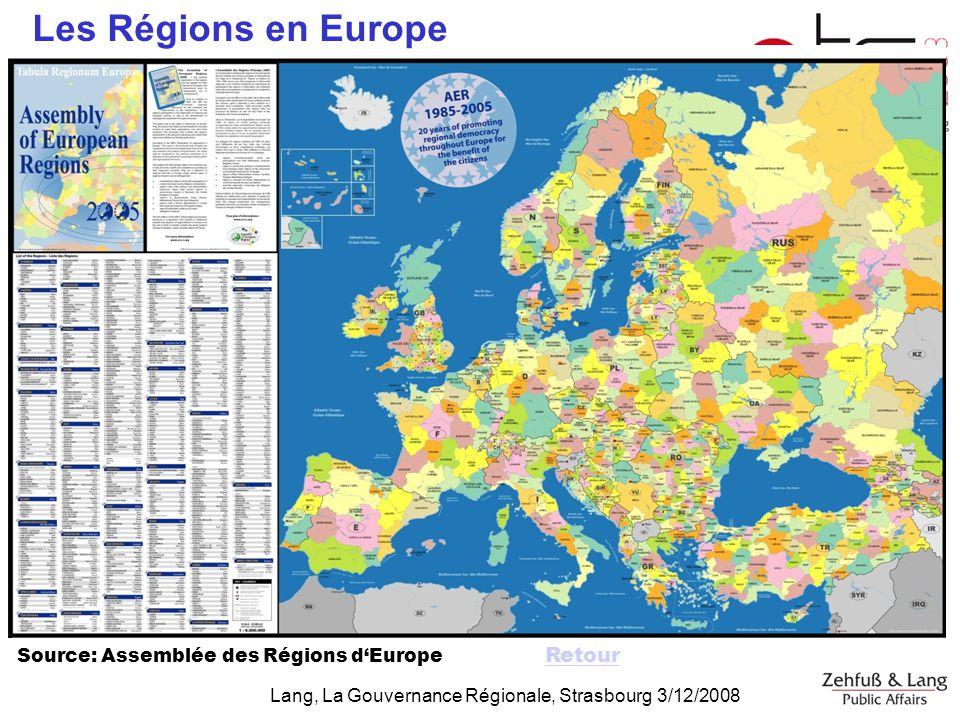 Les Régions en Europe Source: Assemblée des Régions d'Europe Retour