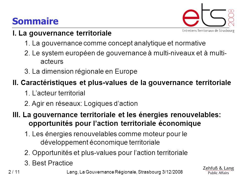Sommaire I. La gouvernance territoriale