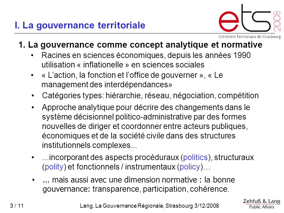 I. La gouvernance territoriale