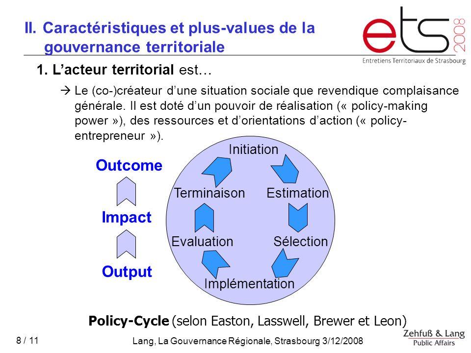 II. Caractéristiques et plus-values de la gouvernance territoriale
