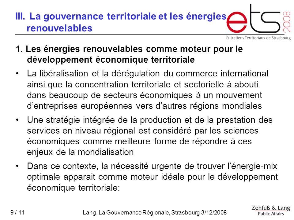III. La gouvernance territoriale et les énergies renouvelables