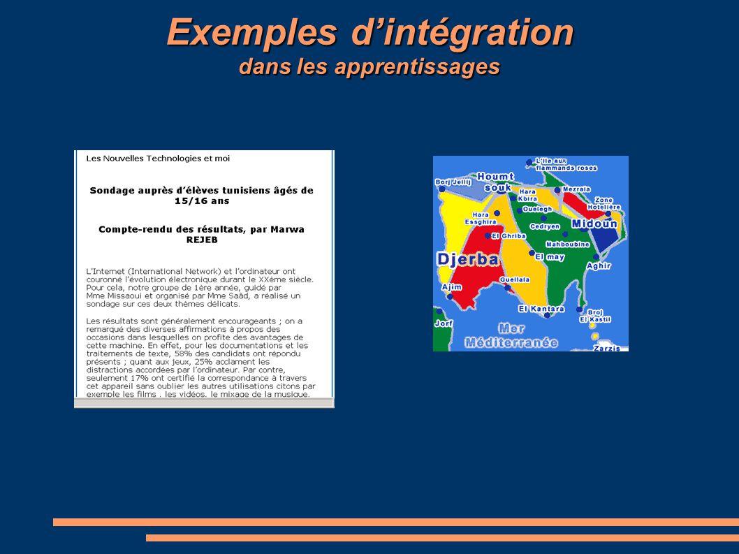 Exemples d'intégration dans les apprentissages