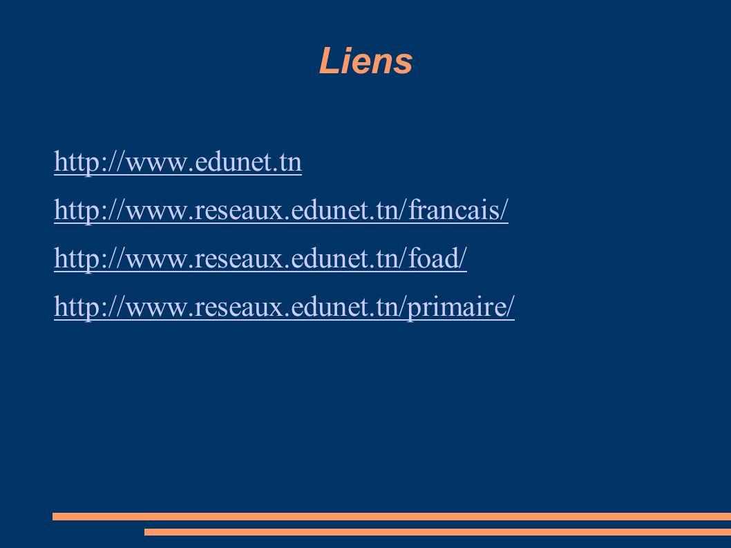 Liens http://www.edunet.tn http://www.reseaux.edunet.tn/francais/