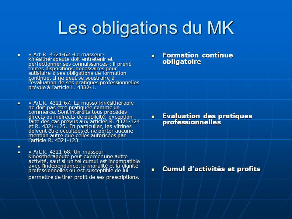Les obligations du MK Formation continue obligatoire
