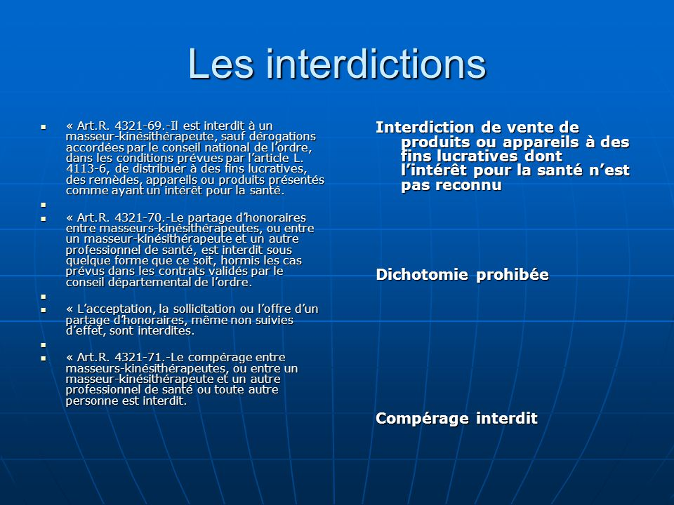 Les interdictions