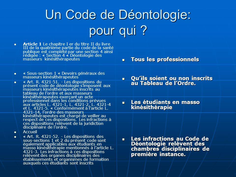 Un Code de Déontologie: pour qui