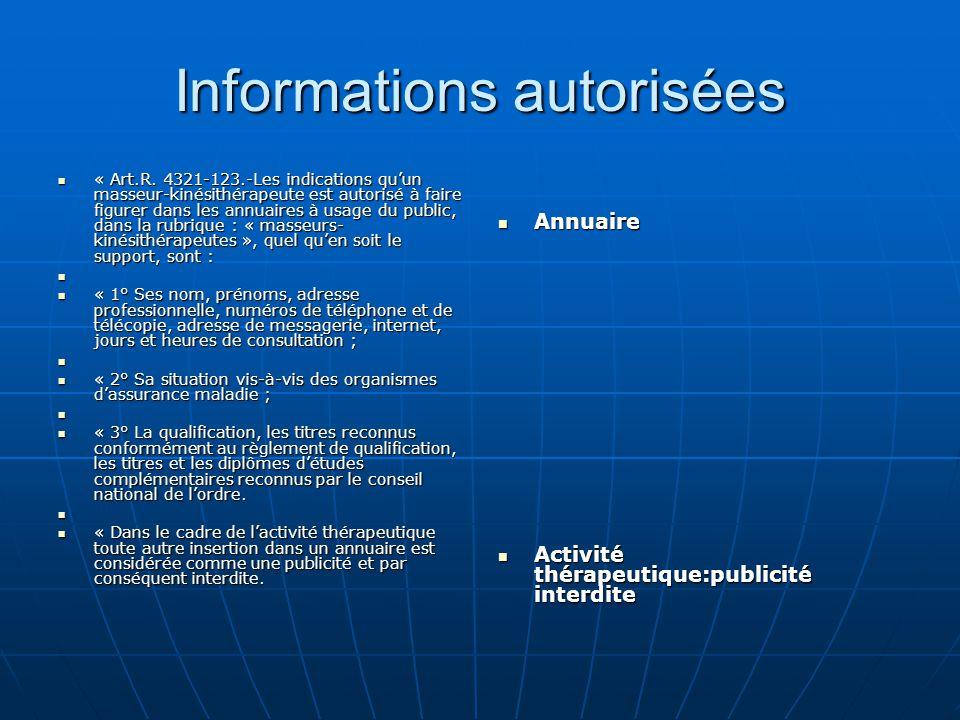 Informations autorisées