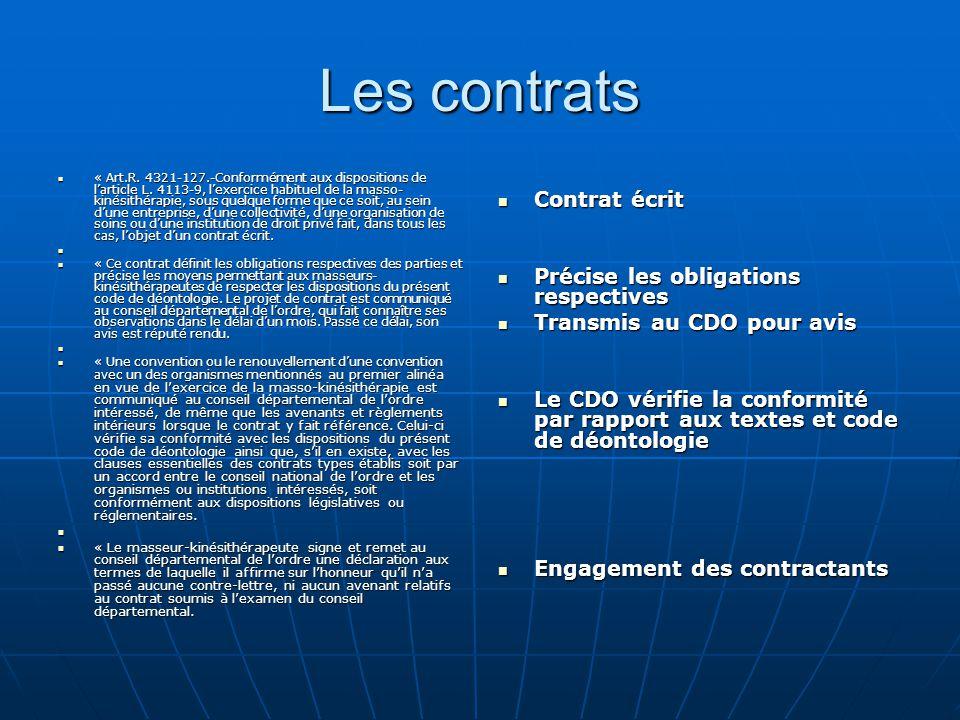 Les contrats Contrat écrit Précise les obligations respectives