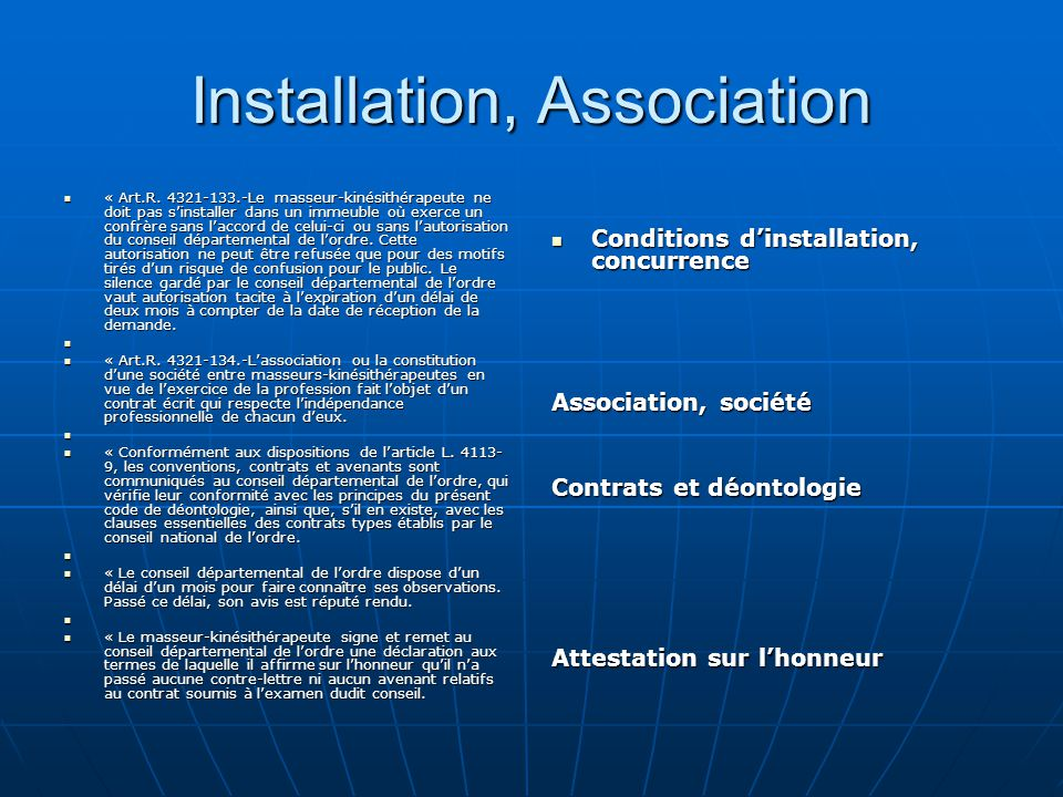 Installation, Association
