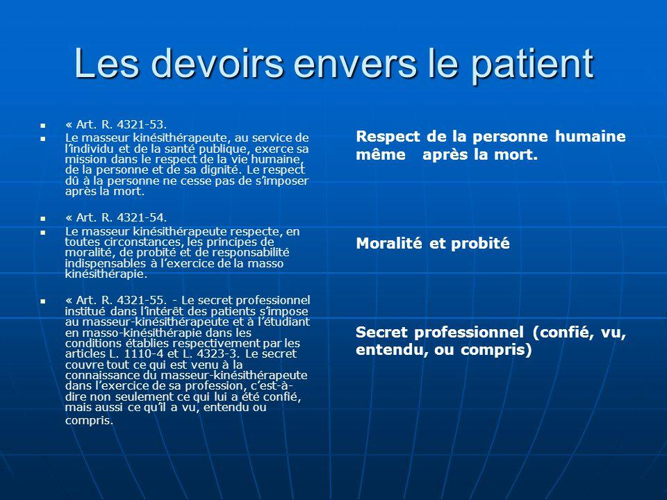 Les devoirs envers le patient