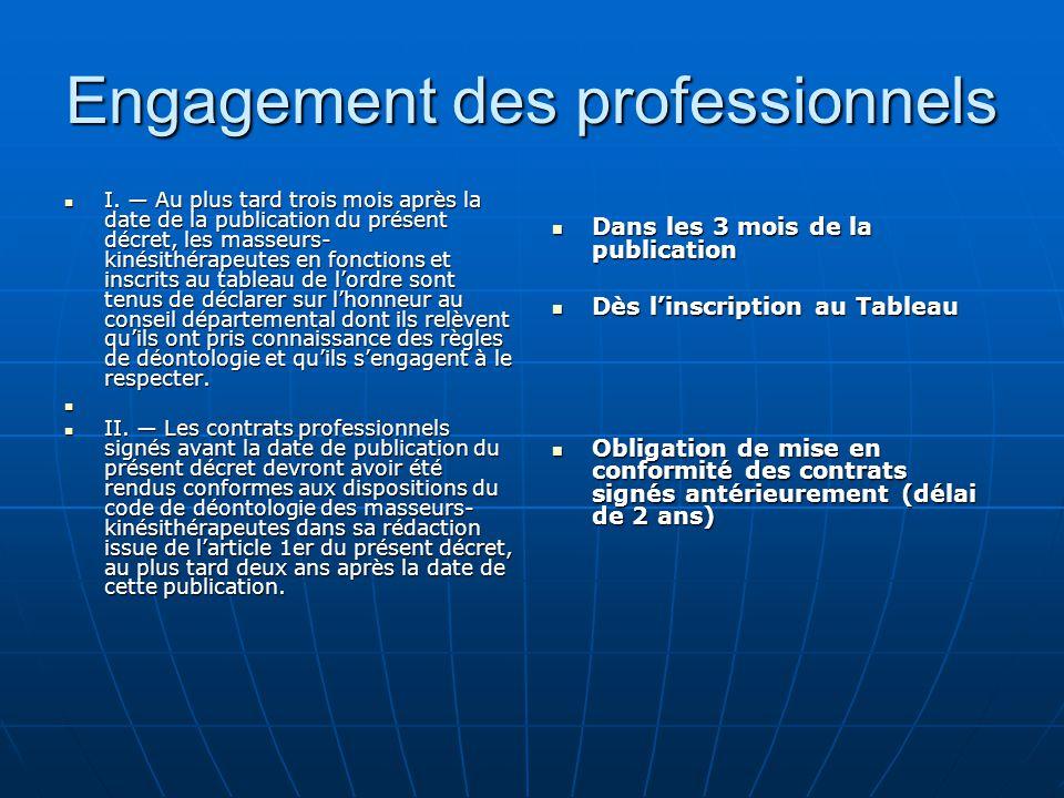 Engagement des professionnels
