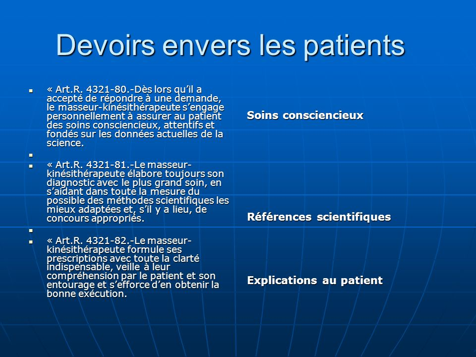 Devoirs envers les patients