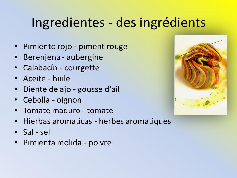Ingredientes - des ingrédients