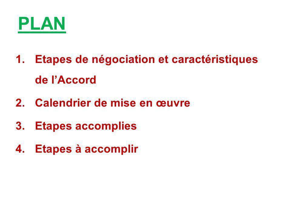 PLAN Etapes de négociation et caractéristiques de l'Accord