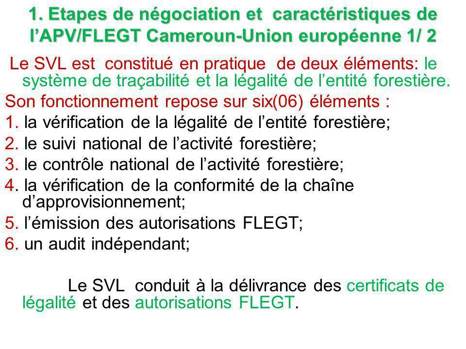 1. Etapes de négociation et caractéristiques de l'APV/FLEGT Cameroun-Union européenne 1/ 2