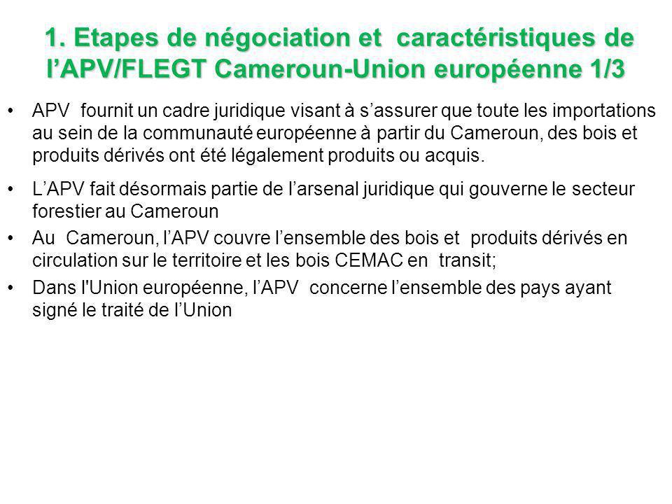 1. Etapes de négociation et caractéristiques de l'APV/FLEGT Cameroun-Union européenne 1/3