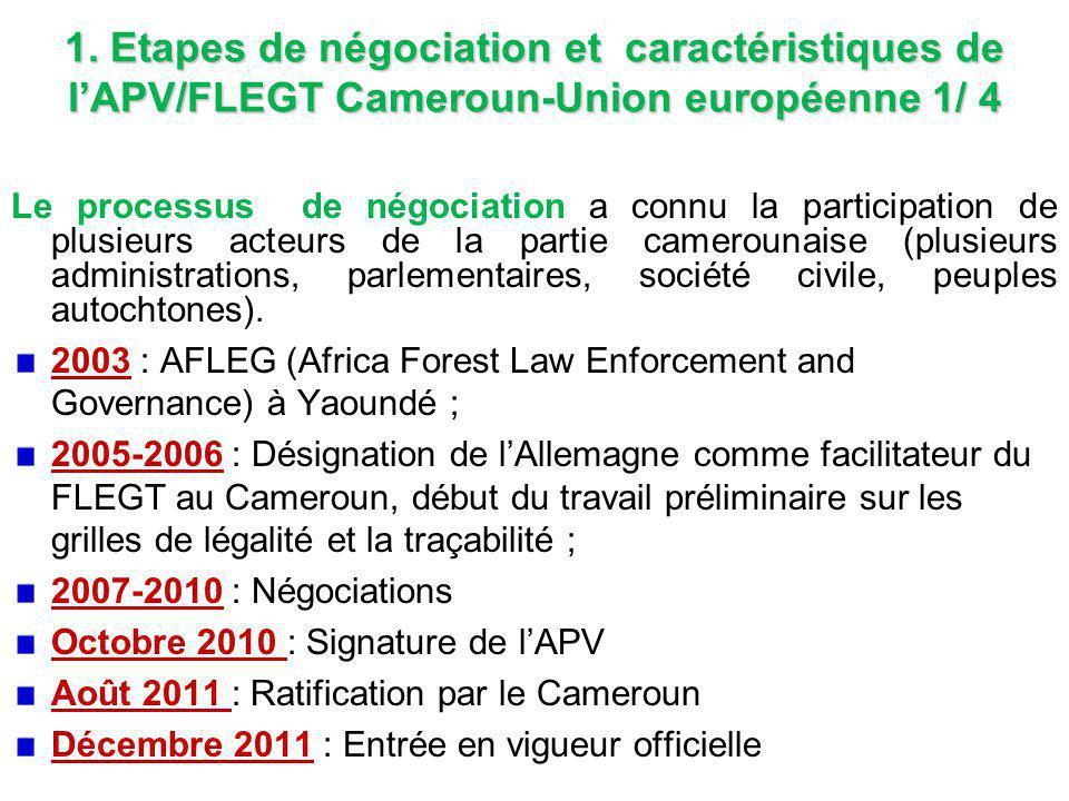 1. Etapes de négociation et caractéristiques de l'APV/FLEGT Cameroun-Union européenne 1/ 4