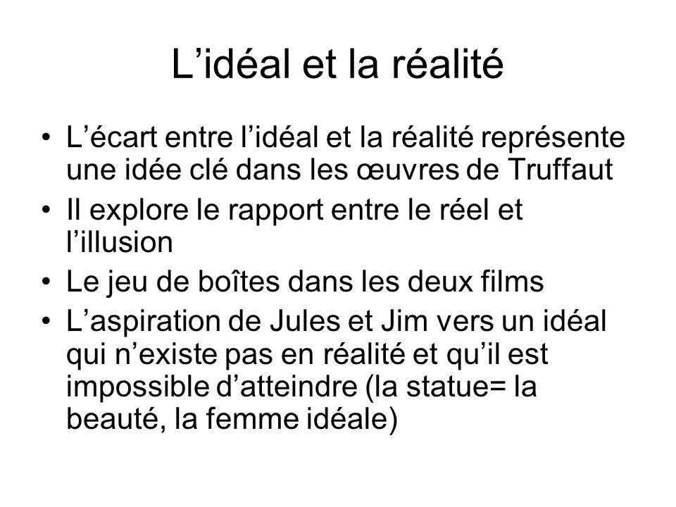 L'idéal et la réalité L'écart entre l'idéal et la réalité représente une idée clé dans les œuvres de Truffaut.