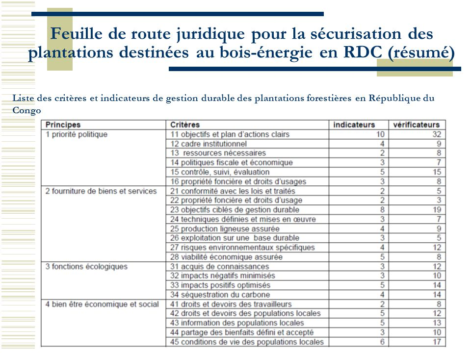 Feuille de route juridique pour la sécurisation des plantations destinées au bois-énergie en RDC (résumé)