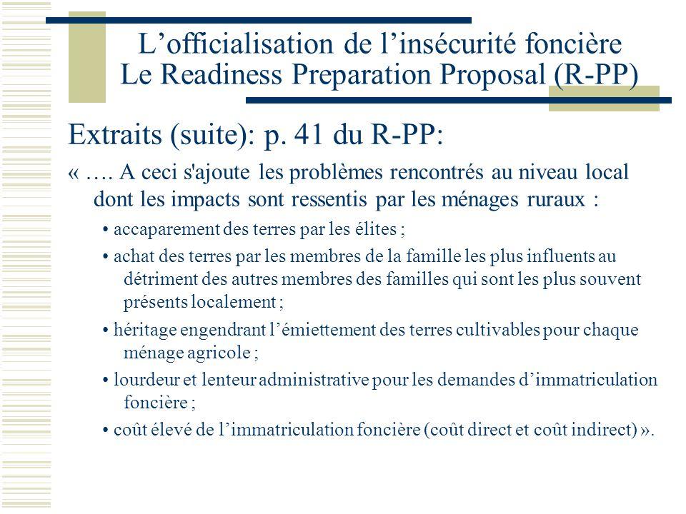 Extraits (suite): p. 41 du R-PP: