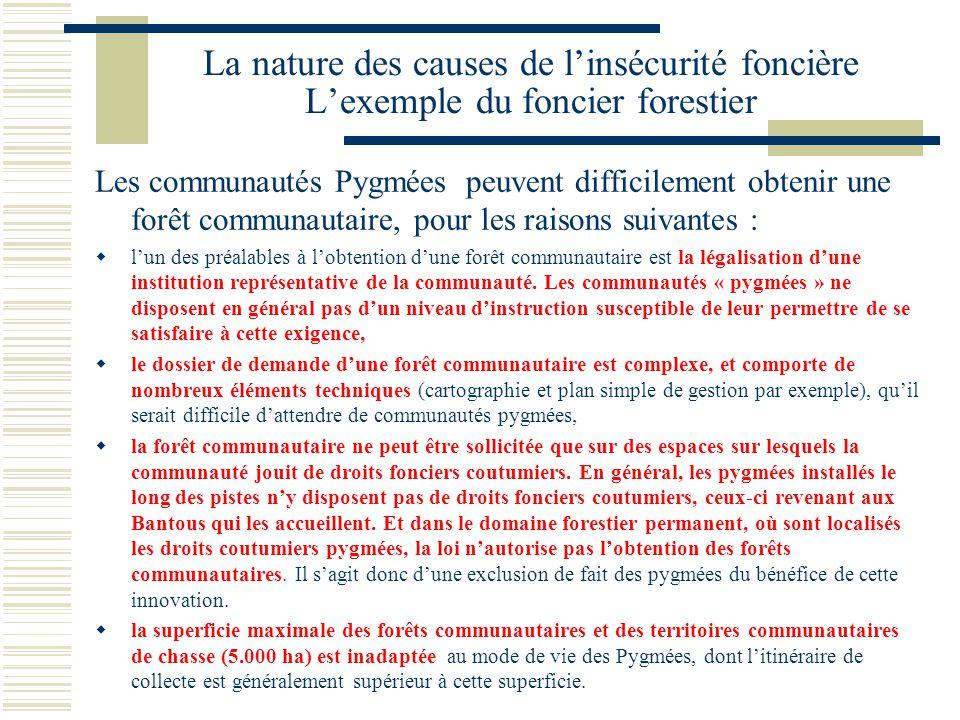 La nature des causes de l'insécurité foncière L'exemple du foncier forestier