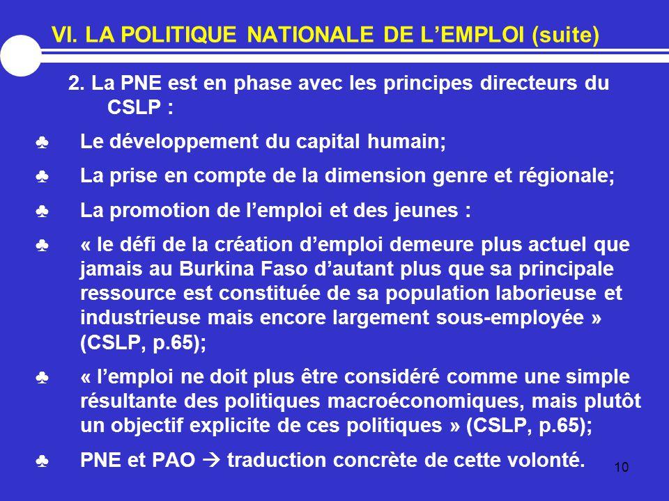 VI. LA POLITIQUE NATIONALE DE L'EMPLOI (suite)
