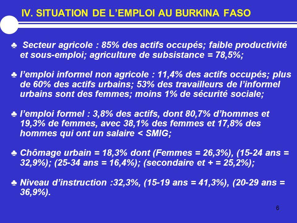 IV. SITUATION DE L'EMPLOI AU BURKINA FASO