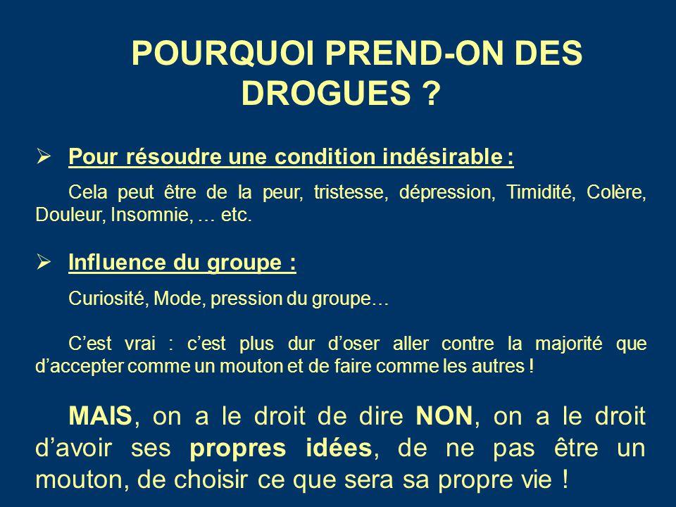 POURQUOI PREND-ON DES DROGUES