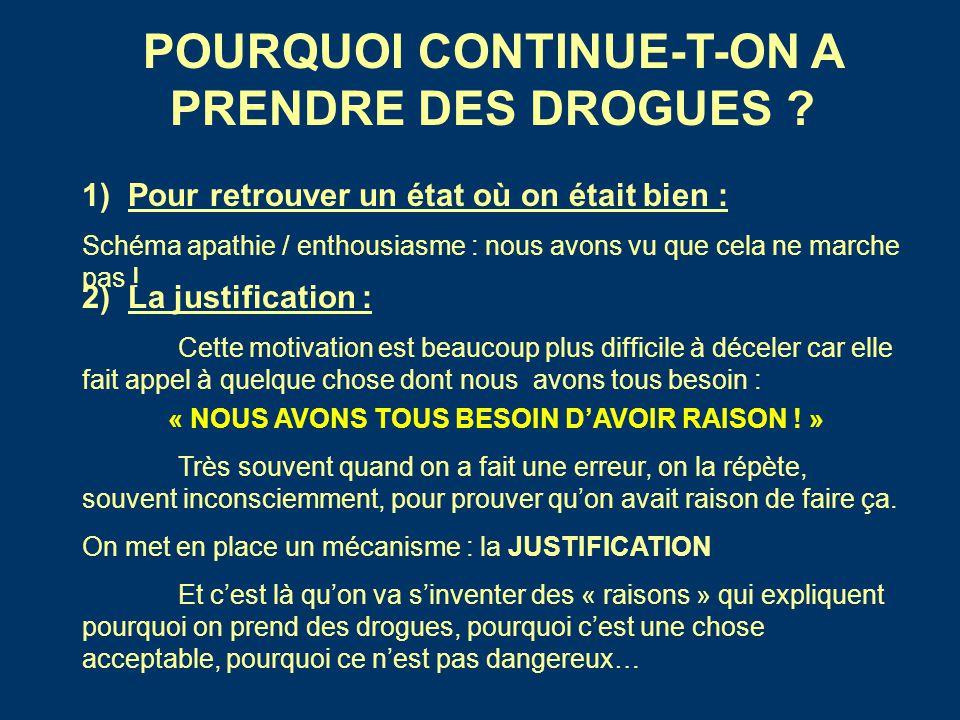 POURQUOI CONTINUE-T-ON A PRENDRE DES DROGUES