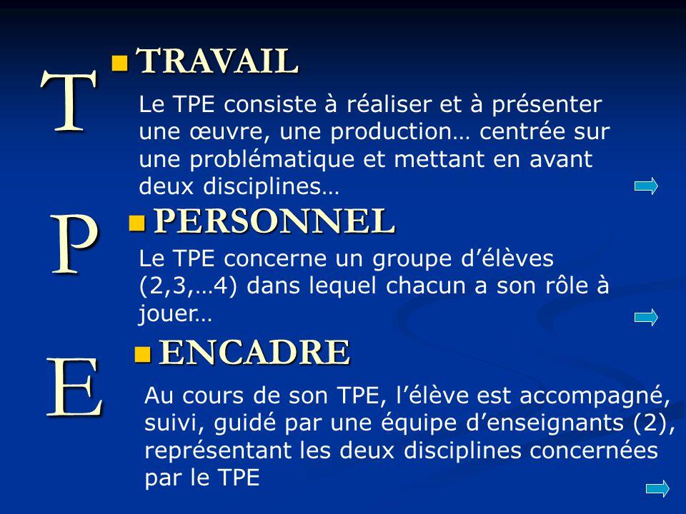 T P E TRAVAIL PERSONNEL ENCADRE