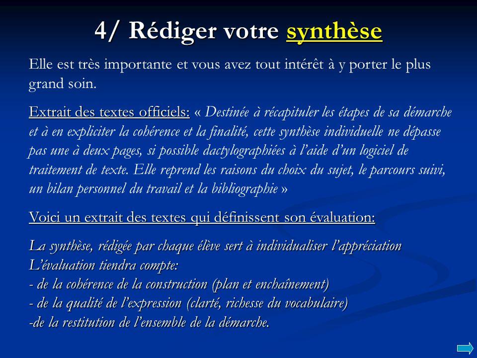 4/ Rédiger votre synthèse